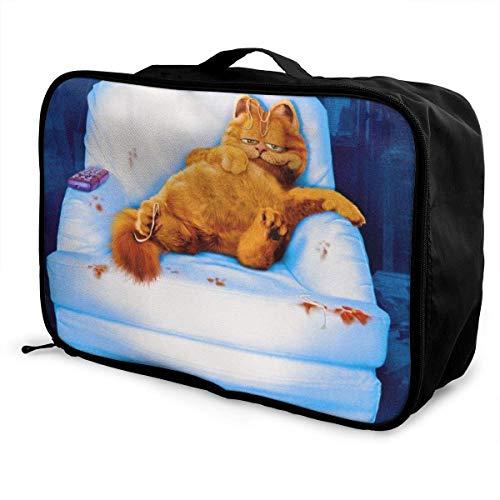 White Sofa Garfield Travel Duffel Bag Storage Packet Folle Waterproof Lightweight Portable High Capacity Tote