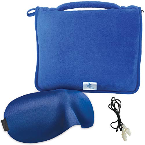 MPN's Travel Throw Blanket Compact Lightweight Portable Plush Coral Fleece with Zippered Carry Pouch, Perfect Size 43 x 59 Use as Soft Lumbar Support Pillow, Travel Pillow, Free Eye Mask and Ear Plugs