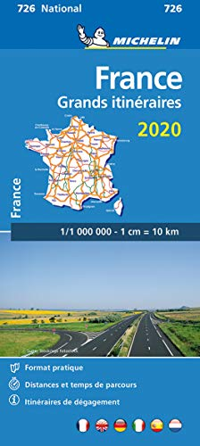 FRANCE GRANDS ITINERAIRES ROUTE PLANNING 11726 CARTE 'NATIONAL' 2020 MICHELIN KAART