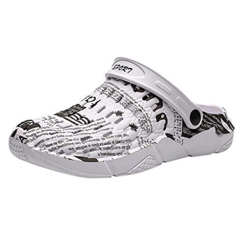 Pantoletten Clogs Herren Damen Leichte schnell trocknende Schuhe Sandalen Hausschuhe Slipper Flache atmungsaktive rutschfeste Flip Flops Casual Beach (44 EU,Grau)