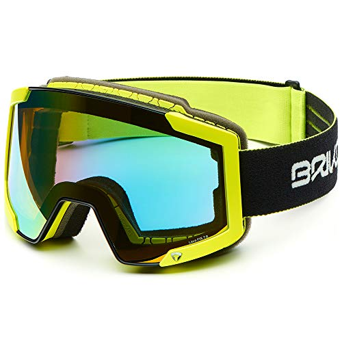 Briko Lava Fis 7.6 Skibrille, Unisex Erwachsene Einheitsgröße Matt-Schwarz/Neongelb