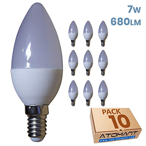 Led Atomant Pack 10x Vela LED C37, 7W, Blanco Neutro 4500K, 680 Lúmenes Reales, Casquillo Fino E14, Equivalente a 60 W Tradicional, 7 37 mm, 10