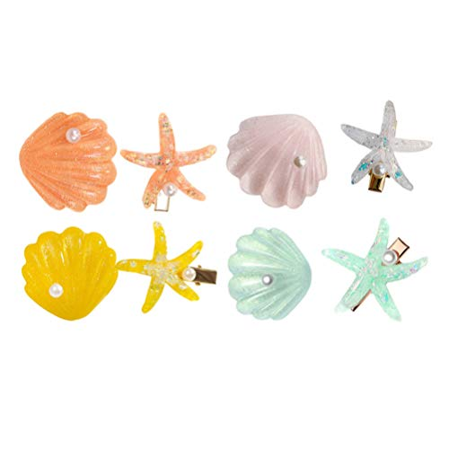 PIXNOR 8pcs Ocean Hair Clips Nautical Seashell Hairpins Beach Theme Hair Barrette Hair Accessories Nautical Underwater Decoration Hair Clip For Women Girls
