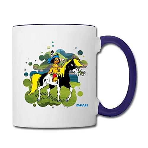 Yakari Indianer Reitet Aus Auf Pferd Kleiner Donner Tasse zweifarbig, Weiß/Kobaltblau