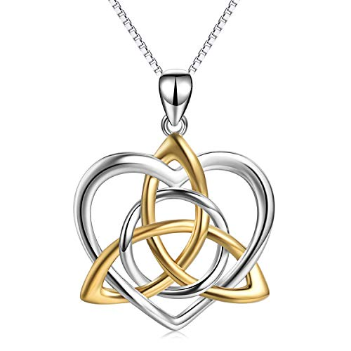 Celtic Knot Necklace Sterling Silver Good Luck Irish Celtics Triangle Vintage Love Heart Pendant Necklace Jewelry Gifts for Women Mother Daughter Sister Girfriend Wife, 18 inches