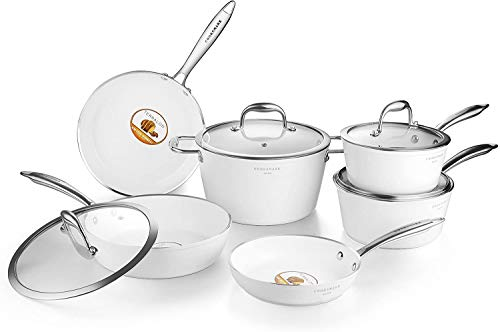Nonstick Ceramic Cookware Set, Induction & Dishwasher Safe Scratch-Resistant Pots and Pans Set with Glass Lids 10 Pieces, White