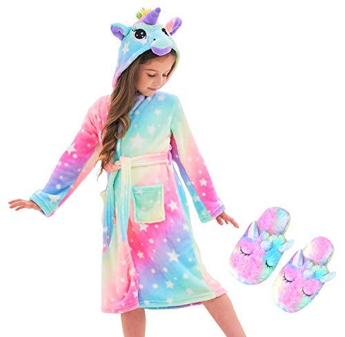 Unicorn Hooded Bathrobe Sleepwear Matching Slippers Girls Gifts (Rainbow Stars, 8-9 Years)