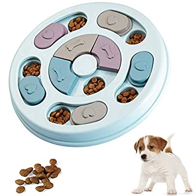 Dog puzzle toy - Slow Feeder - Interactive Training Toy Box - Creative Dog Smart Beginner, Improve Dog's IQ, Non-Slip Slow Feeder for Puppy Dogs Boredom(Blue)