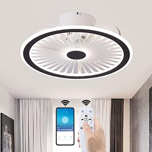 YUNZI LED Ventiladores de Techo con Luces Luz del Dormitorio App y Control Remoto Regulable Ventilador de Techo Silencio 3 velocidades Lámpara para Sala de Estar Encendiendo,Negro
