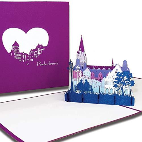 """Pop-Up Karte """"Paderborn – Skyline mit Paderborner Dom"""", 3D Grußkarte als Souvenir, Reisegutschein, Karte mit Umschlag, Einladung, Klappkarte"""
