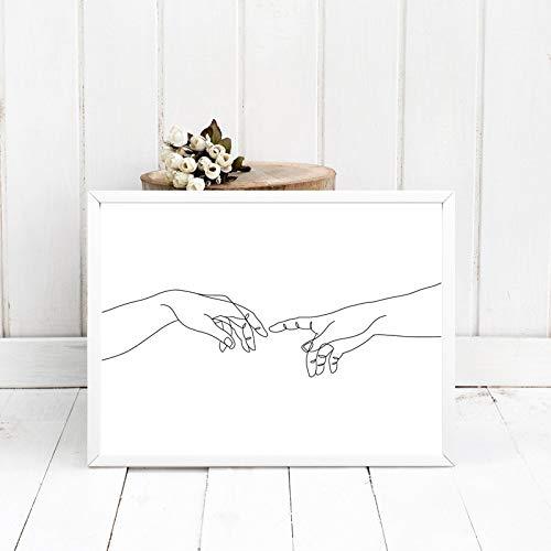 La creación de Adam manos dibujo de líneas impresiones artísticas negro blanco Miguel Ángel pintura lienzo imágenes póster decoración de la pared del dormitorio 60x90 CM (sin marco)