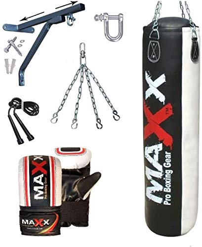 Maxx 6 Pcs set 5FT BLACKWhite Heavy Filled Punch bag punching bag boxing bag with WALL BRACKET FREE CHAIN