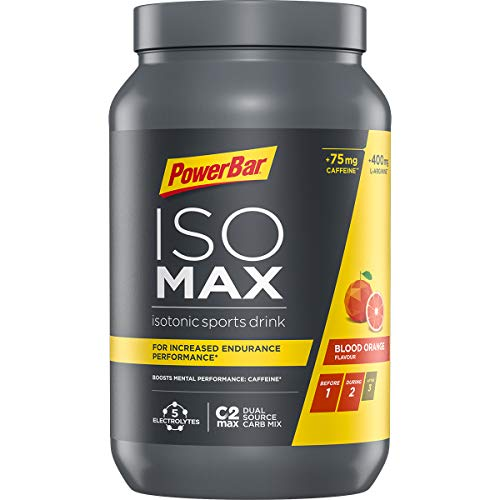 PowerBar Isomax Blood Orange 1200g - Bebida Deportiva Isotónica - 5 Electrolitos + C2MAX + 75mg Cafeína