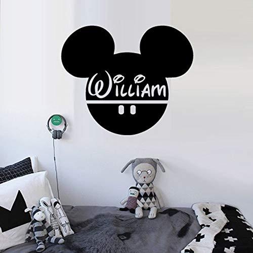 Tianpengyuanshuai Personalisierte Babynamen Wandtattoo Maus Ohr Vinyl Wandtattoo Cartoon Dekoration -45X54cm