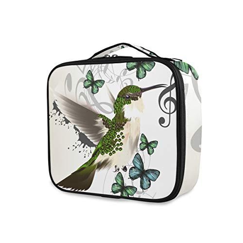 Abstracte vogel muziek notenvlinder toilettas make-up tas portemonnee draagbare gereedschappen cosmetische trekkoffer reisopslag