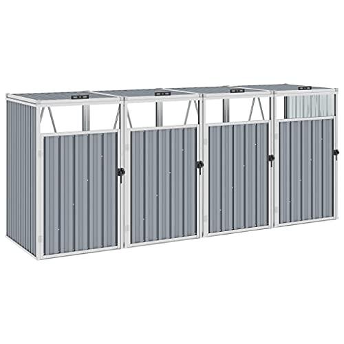vidaXL Mülltonnenbox für 4 Mülltonnen Klappdeckel Mülltonnenverkleidung Müllbox Müllcontainer Gartenbox Gerätebox Grau 286x81x121cm Stahl