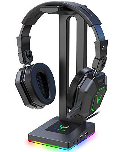 Blade Hawks RGB Gaming Headphone Stand with 3.5mm AUX and 2 USB Ports,...