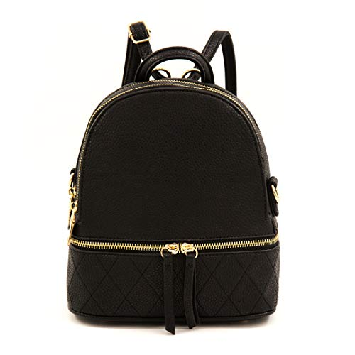 EMPERIA Kora Faux Leather Small Fashion Casual Daypack Backpack for Women | Convertible Crossbody | Black