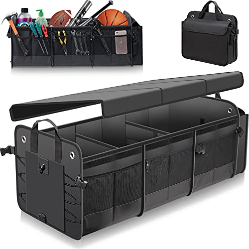 Large Trunk Organizer with Removable Cooler Bag-Collapsible Durable Multi Compartments w/ Foldable Cover, Non Slip Bottom Cargo Storage Suitable for Any Car, SUV, Truck, or Van(3 compartments,Black)