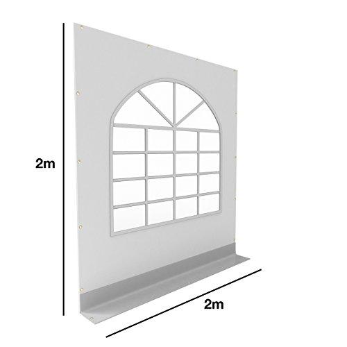 TOOLPORT PVC Seitenteil für Partyzelt Pavillon Gartenzelt 2x2m Seitenwand mit Fenster (rundbogen) grau-weiß