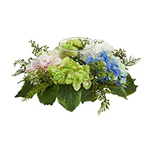 for Hydrangea Artificial Candelabrum W/Clear Candle Holder Home Decor Floral Décor Home & Garden