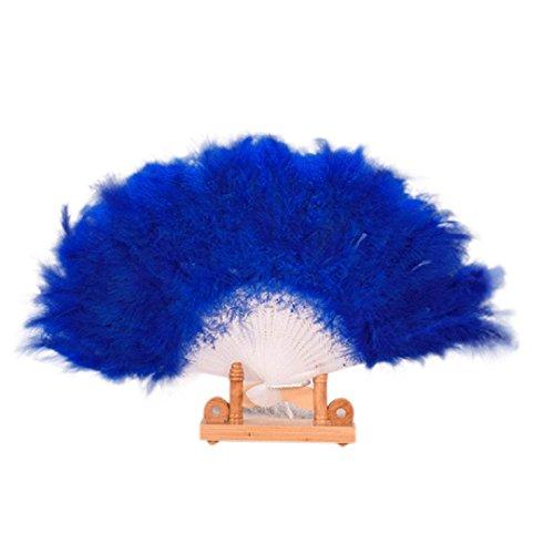 Binmer(TM) Wedding Show girl Dance Elegant Large Feather Folding Hand Fan Decor Decal (Hot Pink)