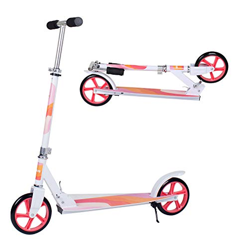 Adult Scooter,Lightweight Easy Folding Kick Scooter with Adjustable Handlebar, 200mm Wheels, Rear...