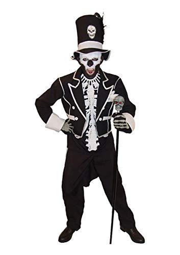 ORION COSTUMES Costume de déguisement d'Halloween avec chapeau haut de forme et combinaison de squelette du Baron Samedi pour hommes