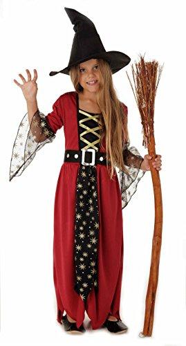 Magicoo Magische Hexe, Hexenkostüm Kinder Mädchen rot-schwarz-Gold & Hexenhut - Schickes Halloween Kostüm Hexe Kind- Gr. 130/140 (Large), Rot-schwarz