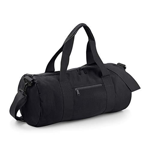BagBase fassförmige Tasche für Uni, Schule und Sport mit gewebten Griffen, 6 Farben Gr. onesize, schwarz / schwarz