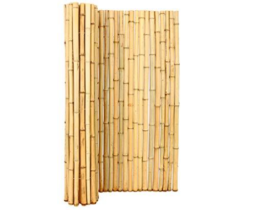 Bambusmatte Roll Zaun mit 150x200cm aus Moso Bambusrohren 3,5 bis 5cm naturbelasen BigBali