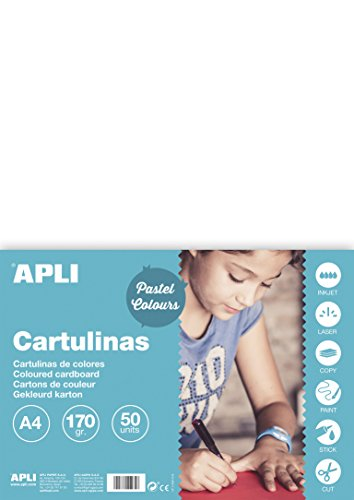 APLI Cartulinas Colores, pack de 50 cartulinas