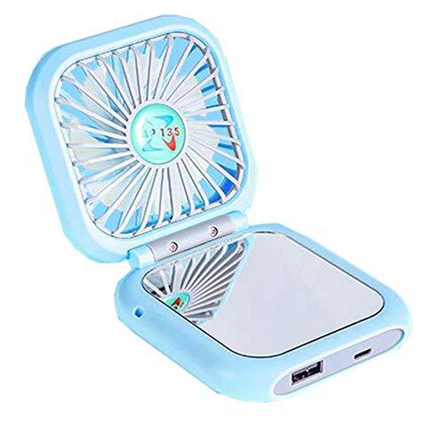 Mini ventilador plegable, mano de mano USB, banco de energía, espejo, escritorio multifuncional del ventilador del cuello colgante-3