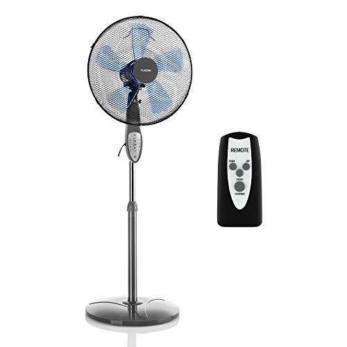 KLARSTEIN Summerjam – Ventilador Vertical, Ventilador de pie, Rotor de 41 cm Ø, 50 W, 3 velocidades, caudal de 4150 m³/h, oscilación de 80°, programable, Mando a Distancia, Altura Regulable, Gris