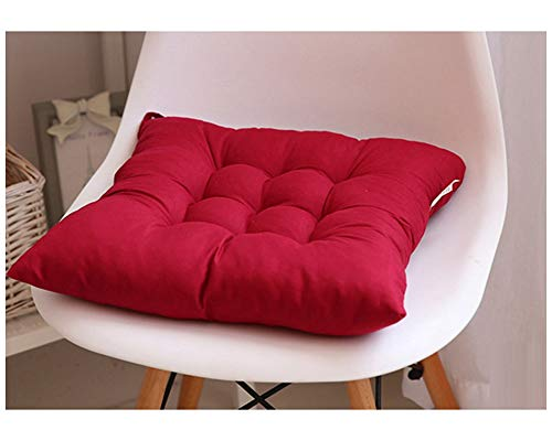 GELing Gepolstertes Sitzkissen Stuhlauflage Sitzpolster Stuhl Für Haus Gartenmöbel Deko Dunkelrot 45X45CM