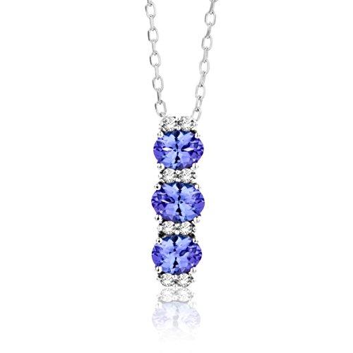 Miore Collana Donna con Catena, Tanzanite Diamanti taglio Brillante ct 0.05 Oro Bianco 9 Kt / 375...