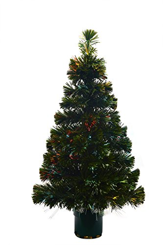 Youseexmas - Albero di Natale in fibra ottica con luci colorate, altezza 90 cm, colore: verde