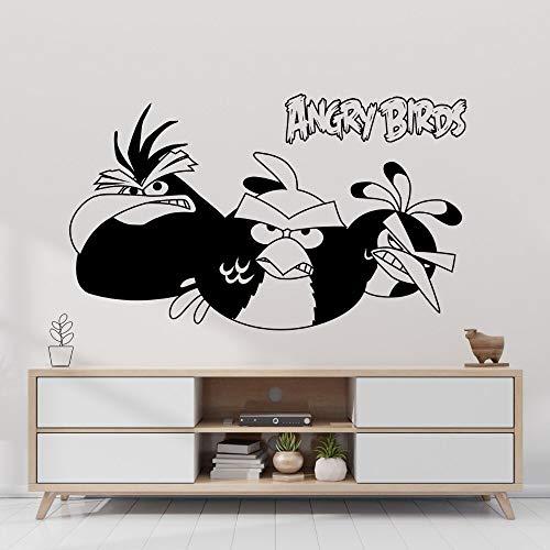 fancjj DREI böse Vögel Game Controller Wandtattoo PVC Wandtattoo Aufkleber Art Design für Gamer Home Decor 75x42cm