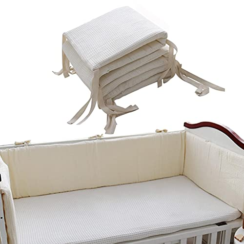 A/A Baby Crib Liner, Padded Breathable Crib Bumper, Fits Standard and Other Cribs, Cotton Bumper Pad, Anti-Bump Baby Bed Bumpers Washable Padded Crib Liners for Boy Girl