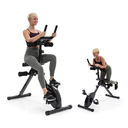 KLAR FIT Capital Sports Fusion Bike - Bicicletta Fitness a Resistenza Magnetica, Bici Cardio/Supporto, AB Trainer, Trasmissione a Cinghia con Sistema SilentBelt, Supporto Tablet, Nero