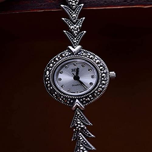 shandianniao Reloj de Pulsera de Las Mujeres 925 joyería de Plata esterlina Vintage artesanía Blanco chasis Reloj Reloj de Pulsera Accesorios joyería de muñeca (Color : Silver)