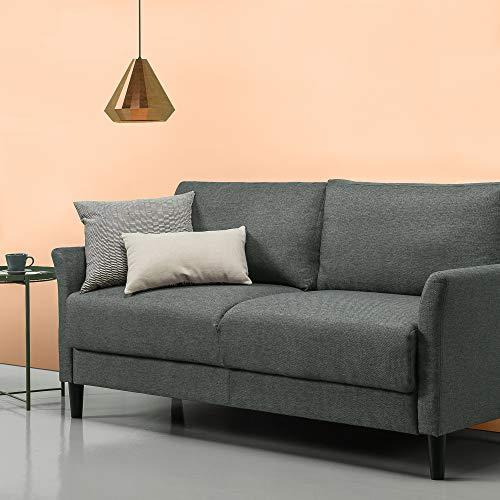 ZINUS Jackie Sofa Couch, Contemporáneo, Montaje fácil sin herramientas, Brazos acampanados, Patas cónicas, Sofá en una caja, Verde piedra