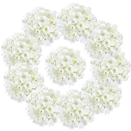 LUSHIDI 10PCS Silk Hydrangea Heads with Stems Artificial Flowers for Wedding Party Home Decor (Off White), One Size Off