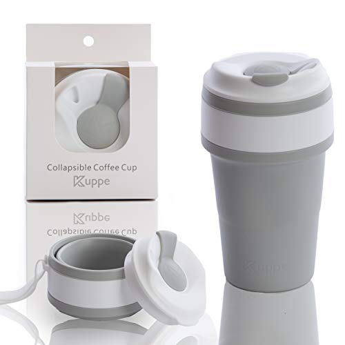 Kupee - Premium Reusable, Collapsible and Eco Friendly Coffee/Tea Cup | Travel Mug | Insulated Cup Ring | Silicone Collapsible Cup | 3 Colors | (Gray)