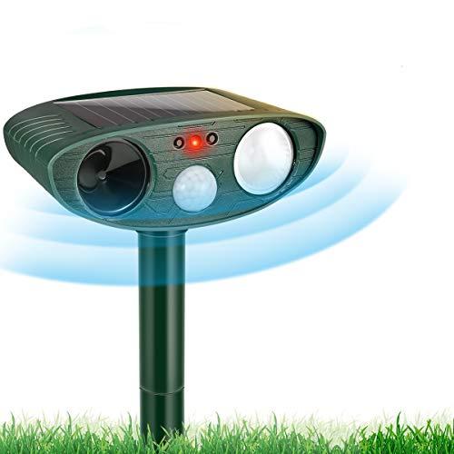 RIVENNA Ultrasonic Animal Chaser, Solar Animal Chaser, Motion Detector, Flashing Light and USB Charge, Outdoor Farm Garden Yard, Dog, Cat, Squirrel, Raccoon, Skunk, Rabbit, Mole, Deer, Birds