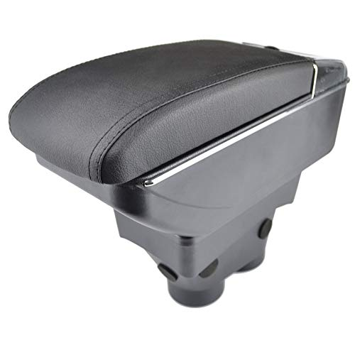 Reposabrazos de piel negra de doble capa para 208 2013 – 2018, consola central, caja de almacenamiento, reposabrazos