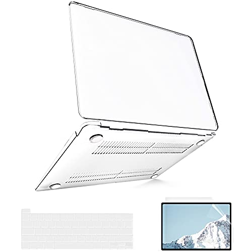 B BELK Compatible with MacBook Pro 13 inch Case 2020 2019 2018 2017 2016 A2338 M1 A2289 A2251 A2159 A1989 A1706, Plastic Hard Shell MacBook Pro Case + Screen Protector + 2 Keyboard Covers, Clear