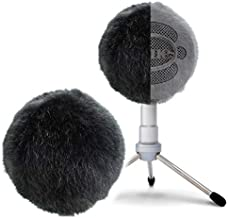 Blue Snowball Furry Windscreen Cover Muff - Professional Mic Foam Wind Cover Windshield Pop Filter for Recordings, Broadcasting, Singing by Sunmon (Black)