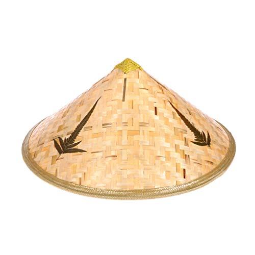 EXCEART Sombrero de Bambú Chino Oriental Asiático Coolie Sombrero Japonés Tejido Sombrero de Paja Sombrero de Granjero Vietnamita Accesorio de Disfraz para Niños Niños 42 X 42 X 29 Cm