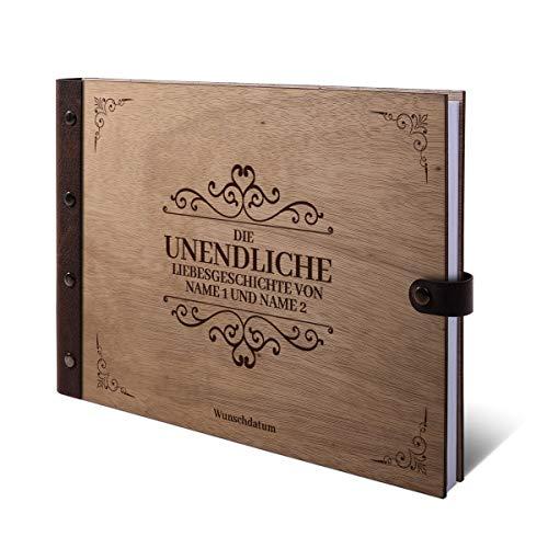 Gastenboek Okoume houten gravure met houten kaft van echt leer, 72 vellen, 144 pagina's A4 liggend, 305 x 215 mm, liefdesverhaal Holzcover Buch quer (302 x 215 mm)
